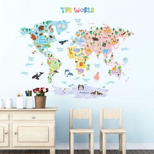 Decowall karta svijeta sa životinjama